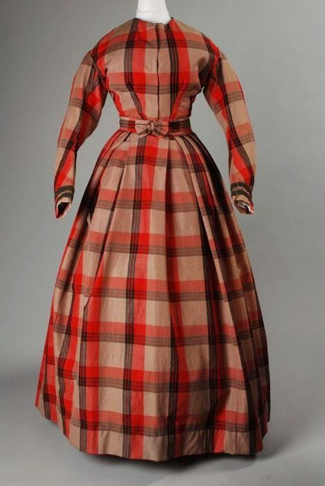 Two-piece woolen plaid dress, 1855-1865, via In the Swan's Shadow.: