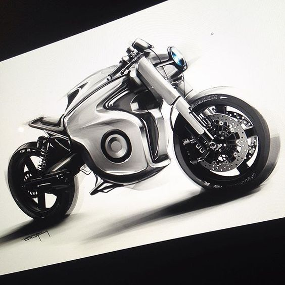 Design Sketching's (@thesketchmonkey) Instagram photo - Bike sketch. #motorcycle #design #sketch #industrialdesign #caferacer #electricmotorcycle #ebike #ducati #electric #ev #photosh - PixPix