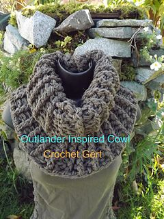 This pattern is inspired by the new Outlander Series, the cowl that Claire wears. It is super stretchy and can also be made with Lion Brand Wool Ease Quick and Thick. If using this yarn I would suggest doing 2 rows less.