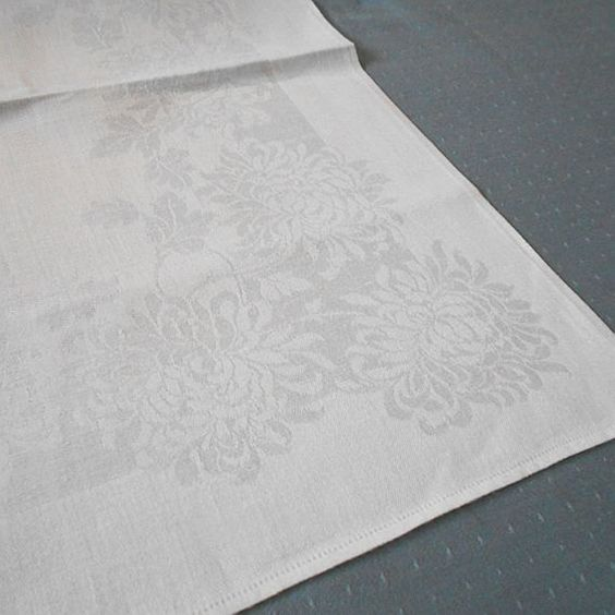 One Dozen Vintage Large White Damask Linen by MissIvyVintage, $49.99