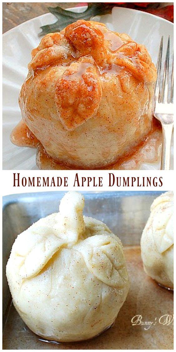 Homemade Apple Dumplings via @https://www.pinterest.com/BunnysWarmOven/bunnys-warm-oven/