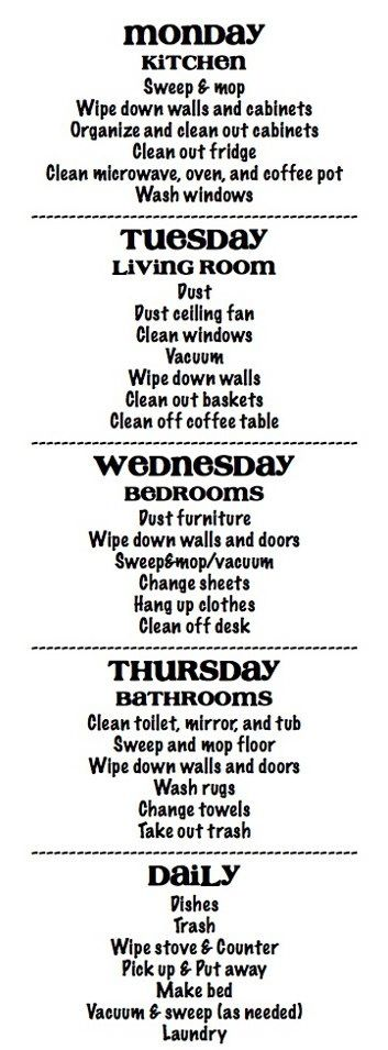If you follow this plan you will never have to worry about those unexpected friends showing up cause you will always have a clean house :)
