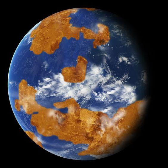 Em um passado distante, Vênus pode ter sido bem parecido com a Terra. De acordo com a Nasa, o planeta teve um oceano líquido e temperaturas habitáveis por até 2 bilhões de anos após sua formação, em sua história inicial. Hoje em dia, Vênus é inabitável e sua temperatura atinge 462º C na superfície. A foto é um conceito artístico.