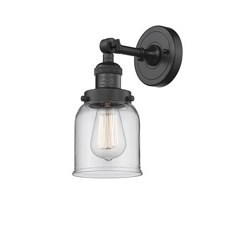Innovations Lighting Small Bell Black Five Inch One Light Wall Sconce With Clear Bell Glass 203 Bk G52 Innovations Lighting Sconces Adjustable Sconce