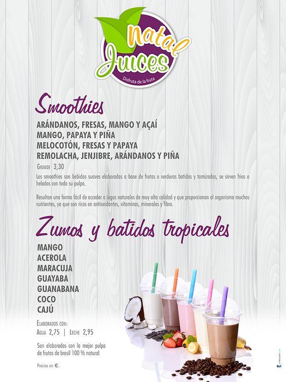 Cartel genérico donde se anuncia los tipos de Smoothies y zumos / batidos tropicales.