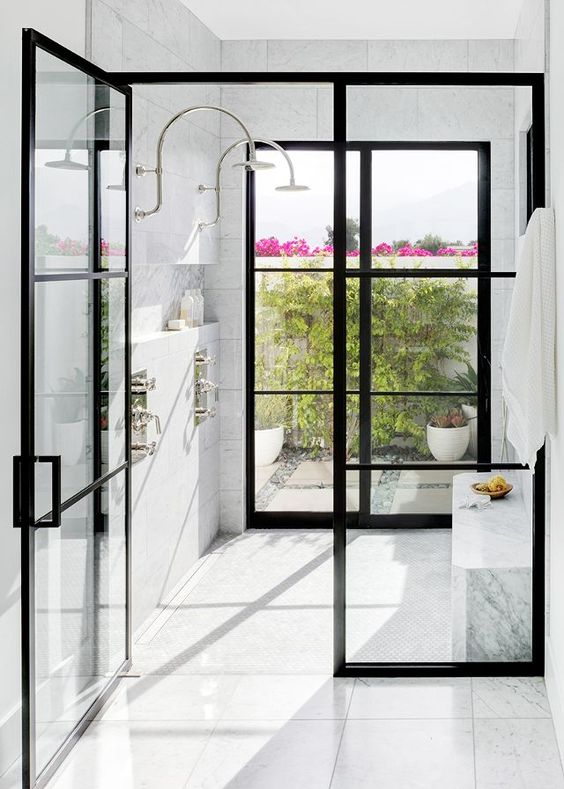 indoor outdoor shower Like the black elements with airy feel. Keep scrolling to Find awesome swings for porch inspo
