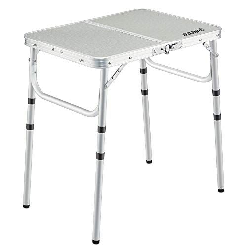 Redcamp Small Aluminum Folding Table 2 Foot Adjustable Height Portable Camping Table Sturdy Lightw Adjustable Height Table Folding Dining Table Camping Table