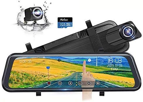 Backup Camera 10 Mirror Dash Cam G-Sensor Parking Monitor Dash Cam Front and Rear Full Touch Screen 170 Degree Streaming Video Rear View Waterproof Mirror Camera
