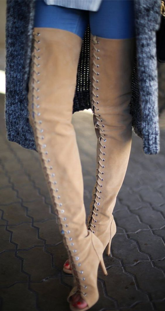 Camel Lace Up Suede Over-the-knee Boots by Tina Sizonova | Shoes ...