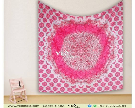 Pink Ombre Mandala Bohemian Boho Queen Wall Tapestry Hippie Dorm Decor Wall Hanging #hippietapestry #mandala #trippy #boho #walltapestries #bohemian #bedspread #pink #wallhanging #bedding #homedecor #handmade #gypsy #dormroom #vedindia