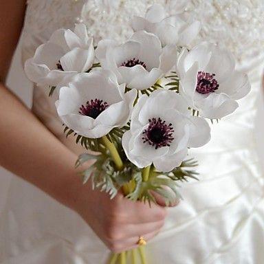 """romantische witte paars rood kunstbloemen 6 stuks anemoon stuurpen 15.7 """"voor bruiloft en partij decoratie (meer kleuren) – EUR € 18.99"""