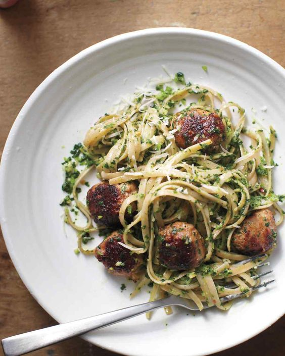 ... sausage pine spinach and then bright green pasta parmesan sausages