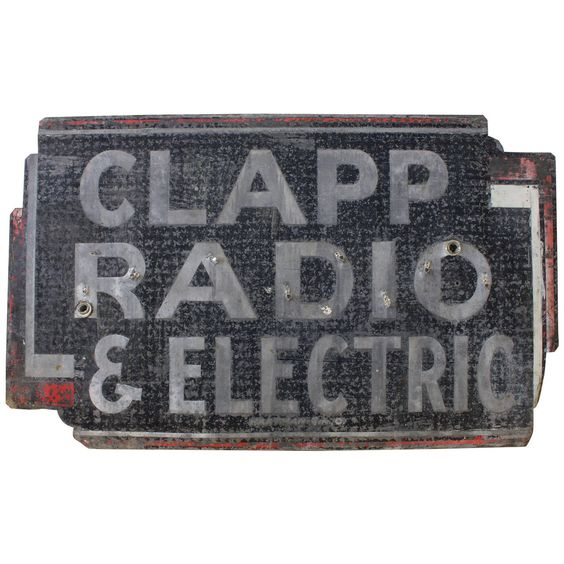 """Vintage Metal """"Clapp Radio & Electric"""" Sign 