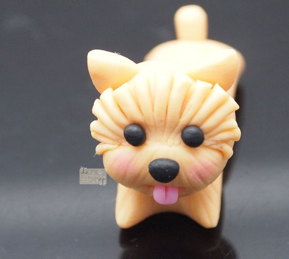 Pendientes de botón - Puppy dogs small earring polymer clay - Earrings - hecho a…