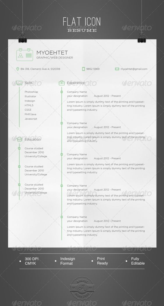 Flat Icon Resume Typography, Icons and Design - resume in indesign