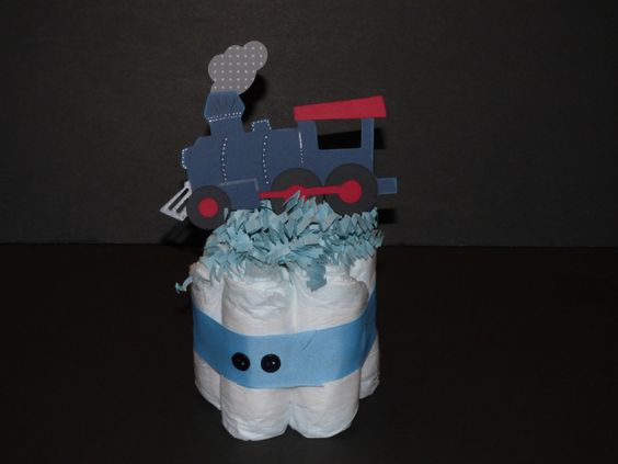 Chu-Chu Train Mini Diaper Cake/ Baby Shower, Baby Gift/ Train/ Boy/ Chu-Chu Tren Mini Torta de Panales/ Regalos de bebe/ Nene/ by CreationsbyGiova on Etsy