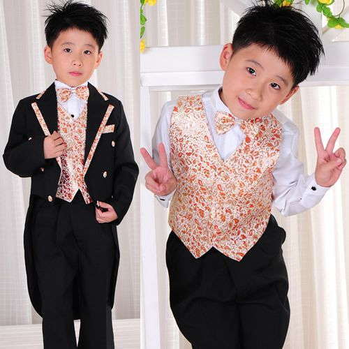 8 Piece Fancy Black Orange Floral Double Breasted Boys Tuxedos Suits SKU-132036