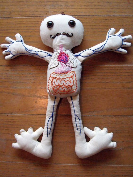 Uncle Mustache the Anatomy Doll http://knithacker.com/?p=9136 made by Heather Jean Skalwold. #embroidery #crossstitch #knithacker #anatomy
