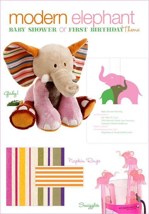 Modern Elephant Baby Shower