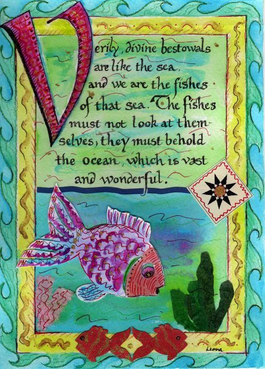 Baha'i Quote Collage Fish Art Print. Bahai www.bahai