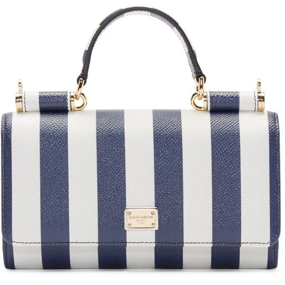Dolce and Gabbana White and Navy Striped Chain Wallet (€820) ❤ liked on Polyvore featuring bags, wallets, snap closure wallet, chain shoulder bag, credit card holder wallet, full grain leather bag and dolce gabbana bag
