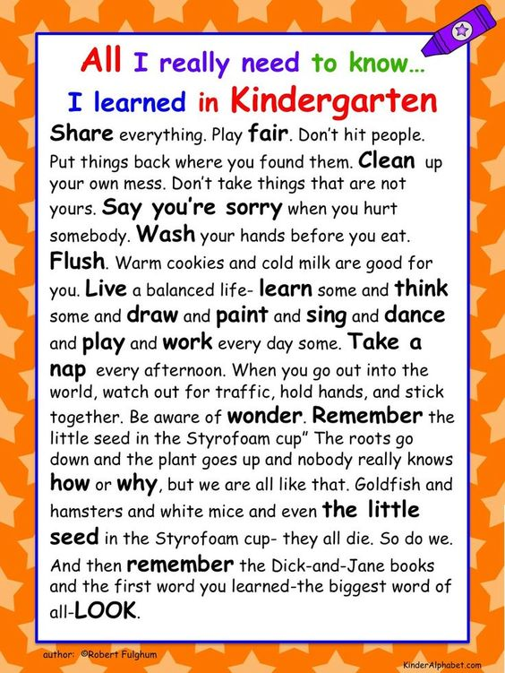i learned everything i needed to know in kindergarten - Google Search: