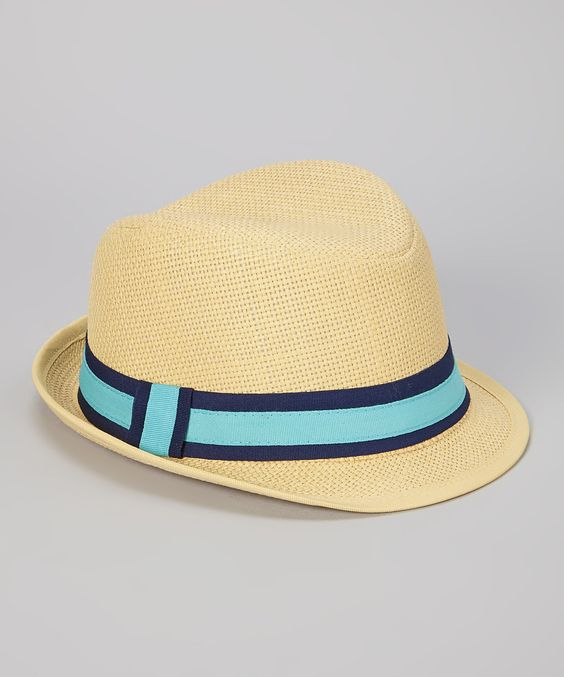 Look at this DaDa Fashion Natural & Aquamarine Stripe Woven Fedora on #zulily today!