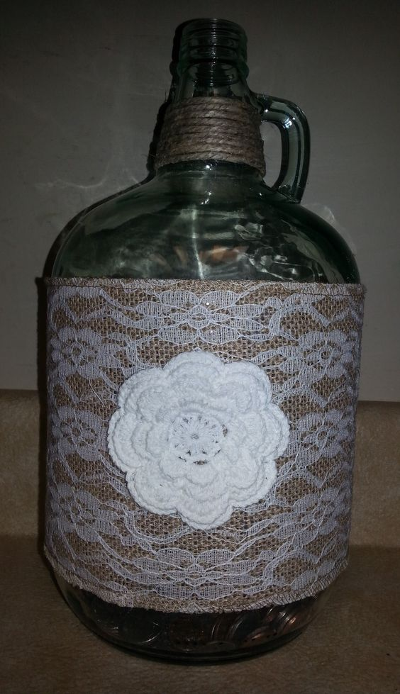 Decorative Wine Jug - Made with Laced Burlap, Large Crochet Flower and Natural Polished Hemp Twine - $25
