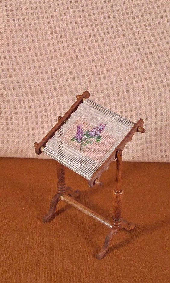 Dollhouse Miniature Stitched Tapestry Screen by PixiePacket, $70.00