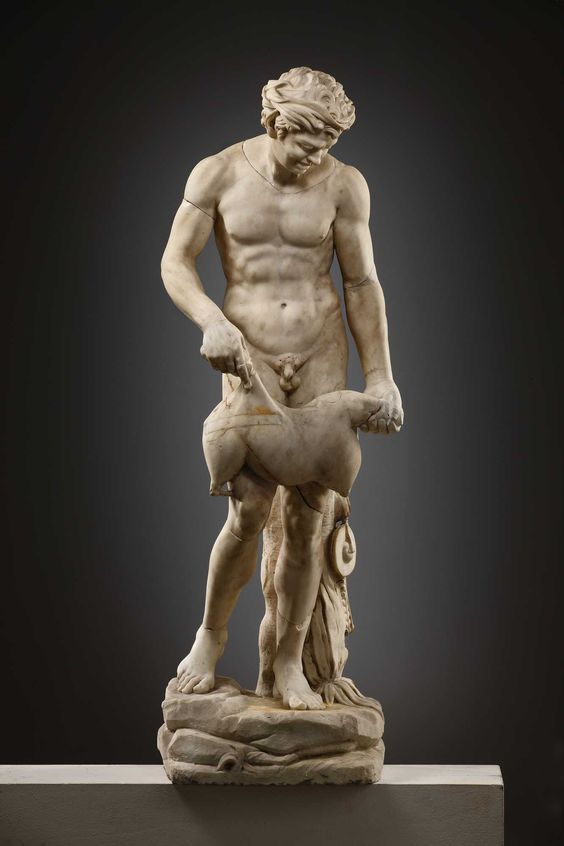 Satyr with wineskin,  2nd century BC for the torso and wineskin 18th century AD for the repairs and additions the statue