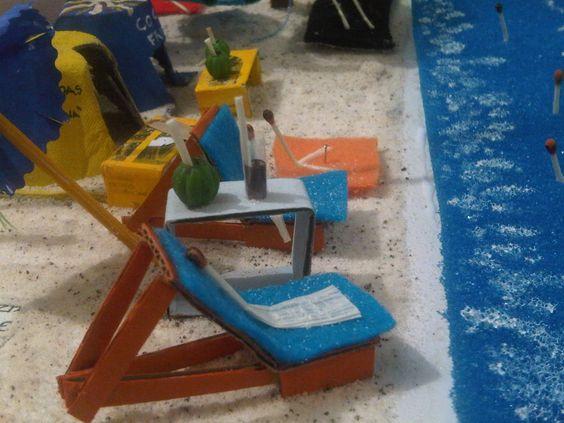 Maqueta playa con material reciclado