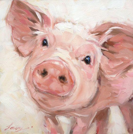 6x6 inch impressionistic Pig painting, original oil painting of a sweet little pig, paintings of pigs, farm animals, nursery art