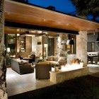 Contemporary Ranch House Remodel - Back Terrace and Open Living Area with Modern Fireplace