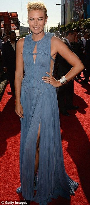 Stunning: Tennis star Maria Sharapova revealed enviable legs in her diaphanous cornflower blue dress, from the J. Mendel 2013 Resort at the ESPY Awards in L.A. on WED July 11, 2012.