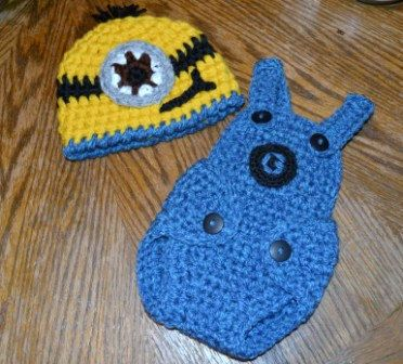Crochet Minion Hat and Diaper Cover from by aStitchSouth on Etsy, $27.00