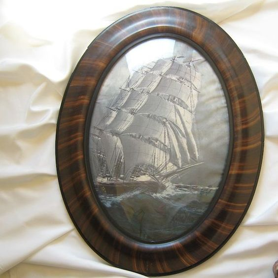Antique Tiger Stripe Frame * Curved Glass