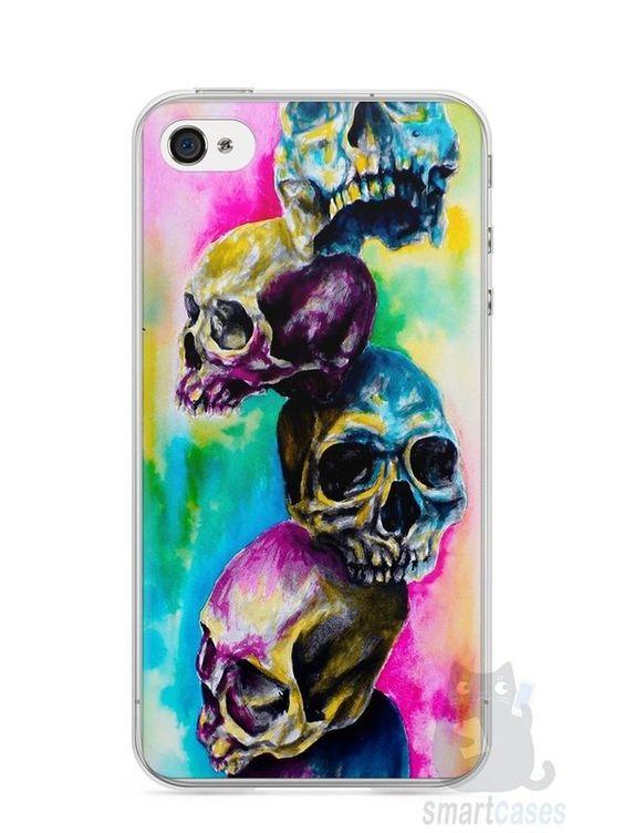 Capa Iphone 4/S Caveiras Coloridas Pintura - SmartCases - Acessórios para celulares e tablets :)