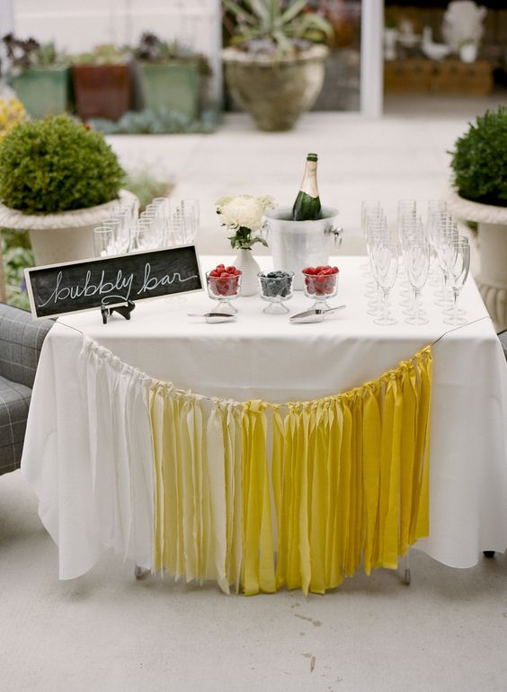 A good ole fashioned bubbly bar.   Read more -  #SMPLivingGiveaway http://www.stylemepretty.com/living/2013/09/13/yellow-black-dinner-party/: Wedding Idea, Wedding Shower, Living 2013, 2013 09, Bubbly Bar, Champagne Bar, Party Ideas