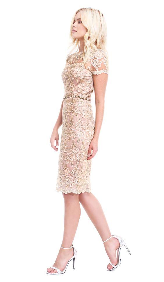 David Meister Vestido Dourado com aplicações | Aluguer de Vestidos de Luxo | Alugar Vestidos na Chic by Choice