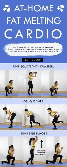 This cardio workout at home for beginners will help you burn fat really fast - This powerful home cardio workout will help to burn belly, thigh, back fat and love handles. Its a full body workout routine that you can do at home. #cardioathomeforbeginners