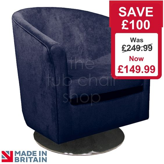 Clearance Chairs : Tuscany Tub Chair in Danza Navy Crushed Velvet ...