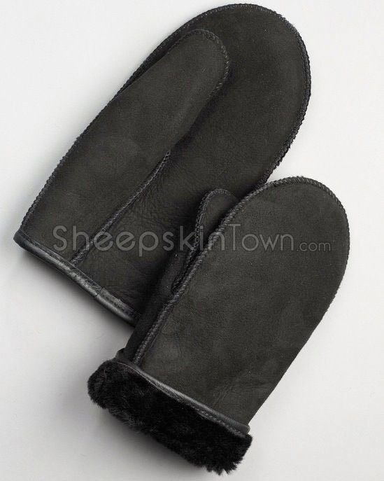 Men's Black Shearling Sheepskin Alaska Mittens