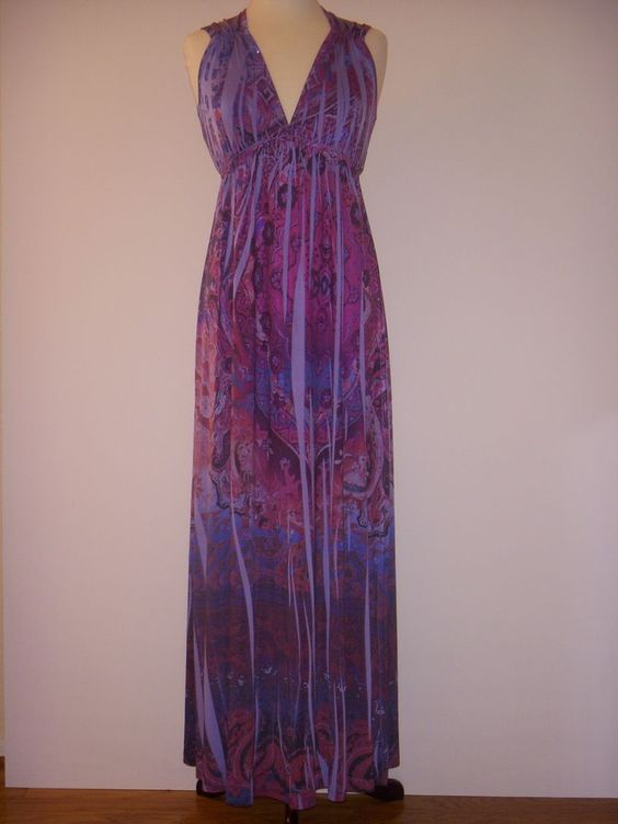 APT. 9 DRESS Beaded Purple Sublimation Maxi S #Apt9 #Maxi #Casual