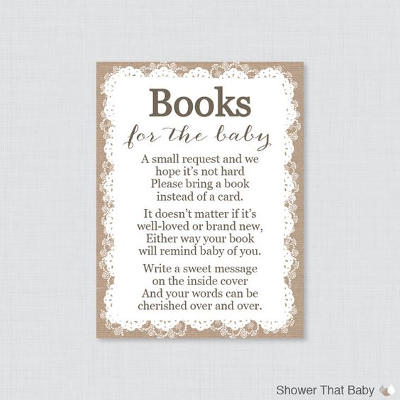 printable burlap and lace baby shower bring a book instead of a card