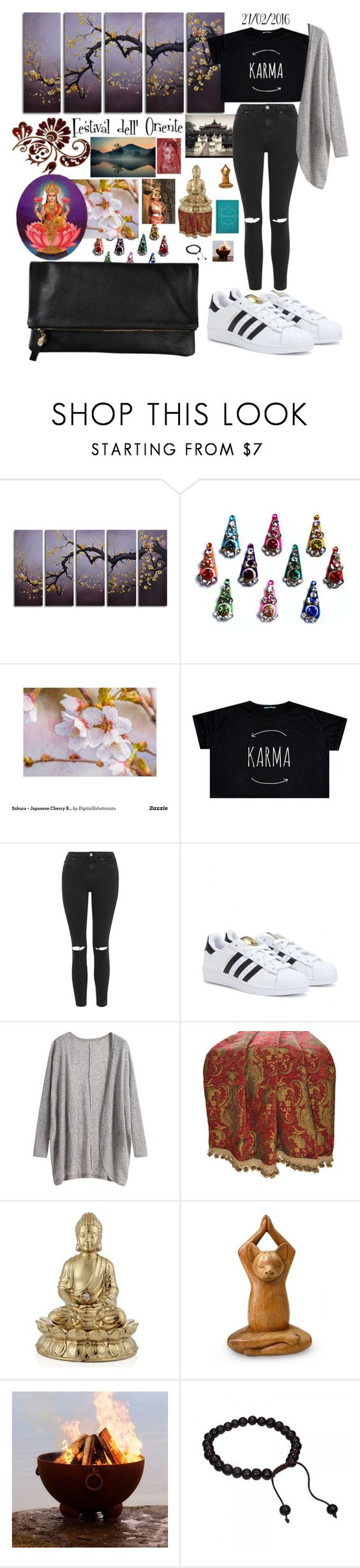 """East"" by nenupha ❤ liked on Polyvore featuring Topshop, adidas, Clare V., red flower, CO, Sherry Kline, Fountain and NOVICA"