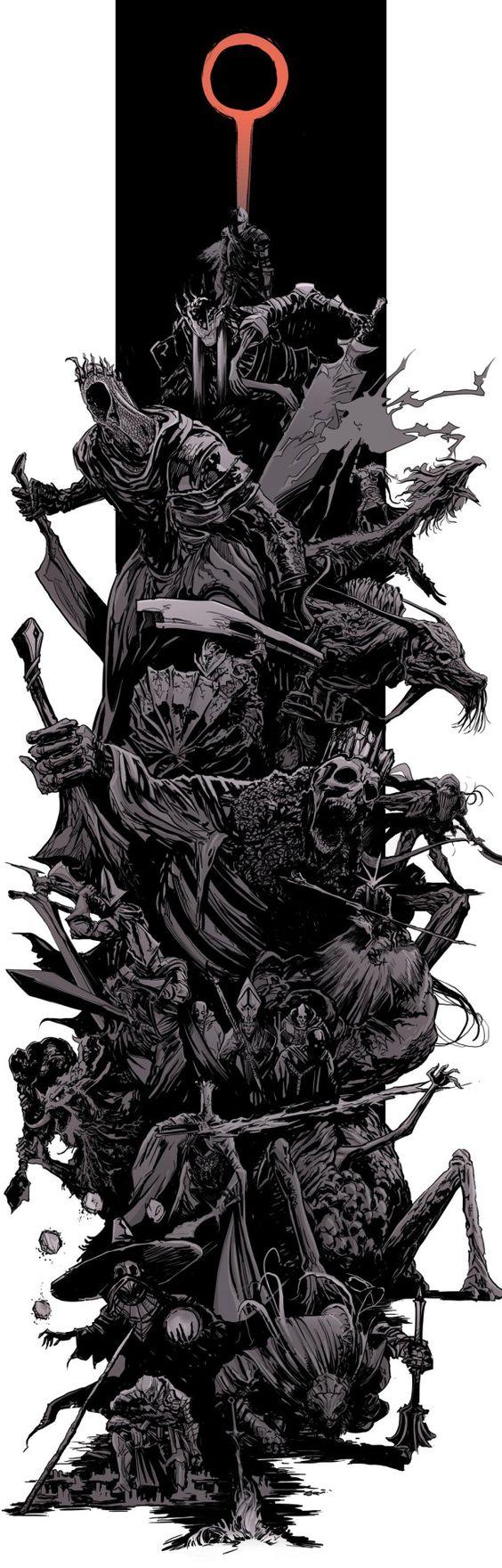 """darksoulsartblog: """" DarkSouls3 - bosses splash by uger """""""