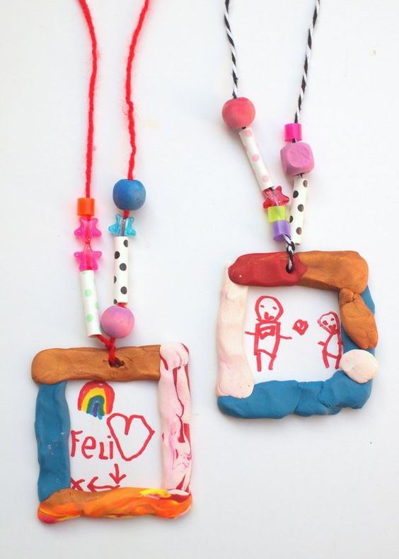 Clay Portrait Pendant Necklaces