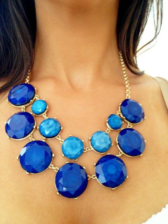 Into the Deep Blue Gemstone Necklace Just by SophiaDarlingVintage, $56.00