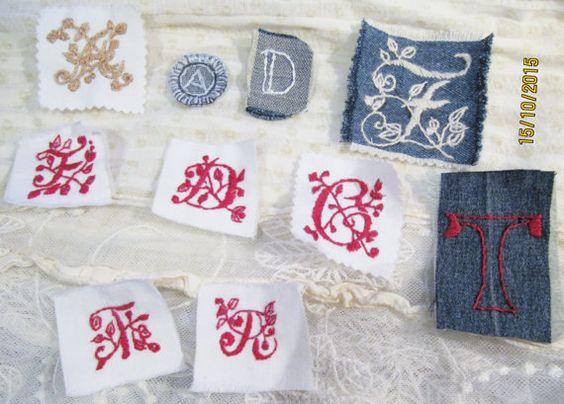 1x handmade Monogramm Ornament Stickerei Buchstabe