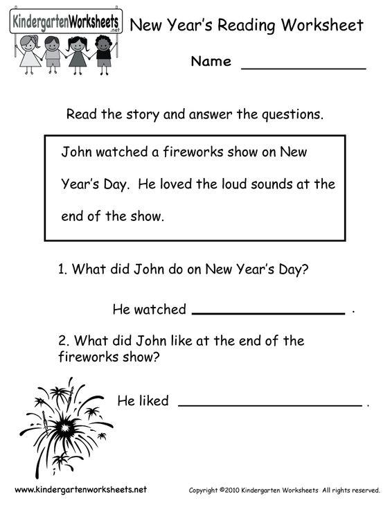 newyearsreadingworksheetprintable New Year – Printable Kindergarten Reading Worksheets